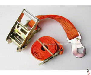 Simba 2.35m 50mm Ratchet Strap Set c/w Flat Snap Hooks, Orange Webbing